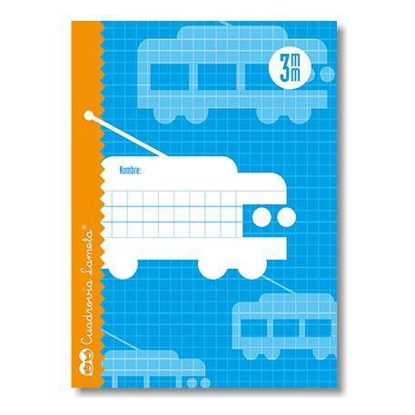 Libreta Grapa Cuarto 30 Hojas. Cubierta Cartoncillo Plastificado. Cuadrovía 3mm.