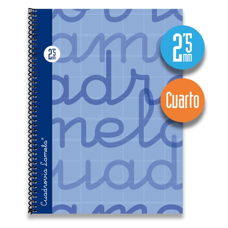 Cuaderno Espiral Cuarto 80 Hojas. Cubierta Extra Dura AZUL . Cuadrovía 2,5mm.