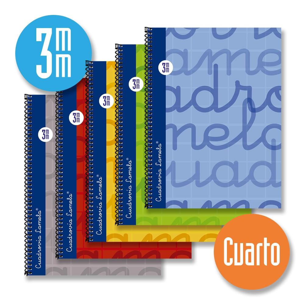 Cuaderno Espiral Cuarto 80 Hojas. Cubierta Extra Dura AZUL. Cuadrovía 3mm.