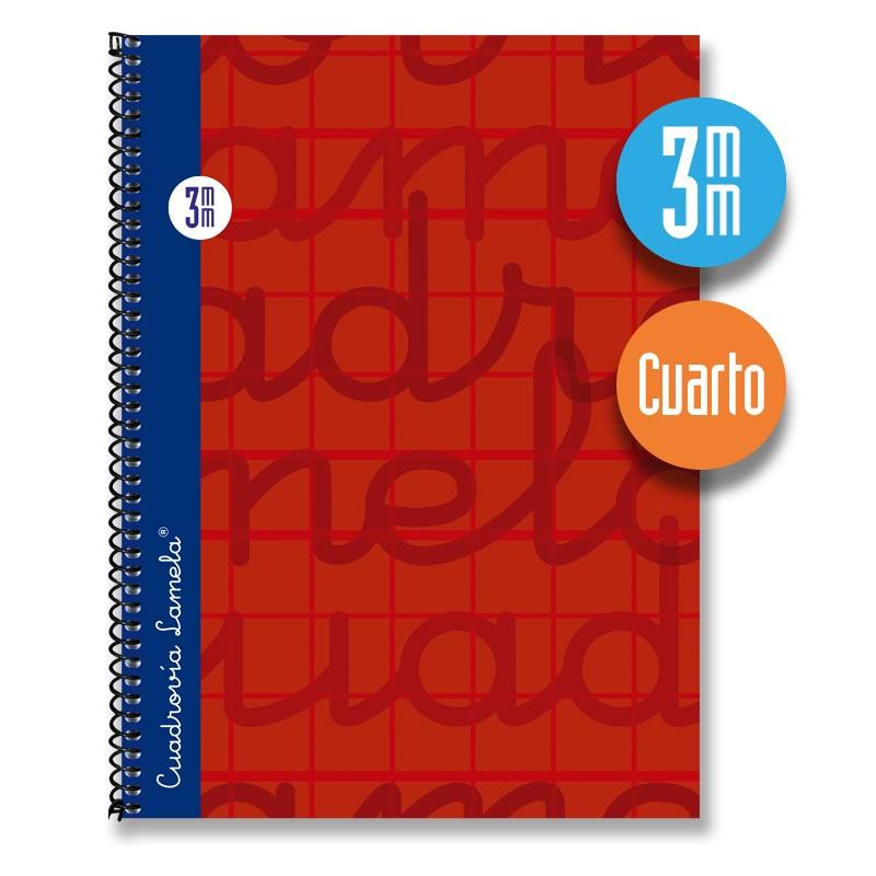 Cuaderno Espiral Cuarto 80 Hojas. Cubierta Extra Dura ROJO. Cuadrovía 3mm.