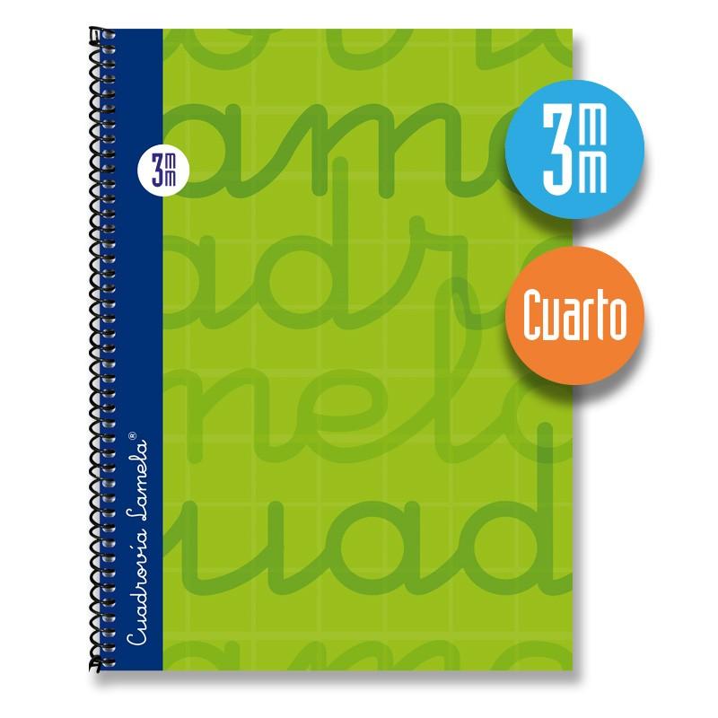 Cuaderno Espiral Cuarto 80 Hojas. Cubierta Extra Dura VERDE. Cuadrovía 3mm.