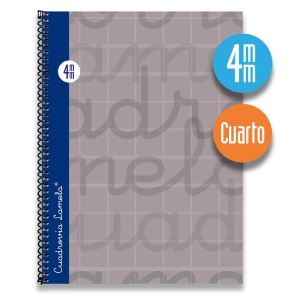Cuaderno espiral cuarto 80 hojas. Cubierta extra dura GRIS. Cuadrovía 4mm.