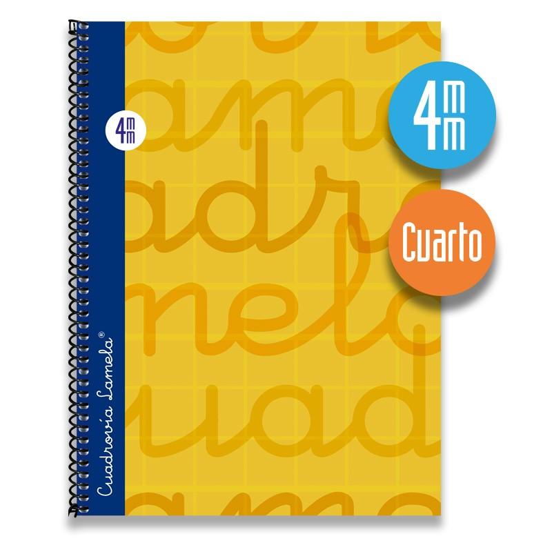 Cuaderno Espiral Cuarto 80 Hojas. Cubierta Extra Dura NARANJA. Cuadrovía 4mm.