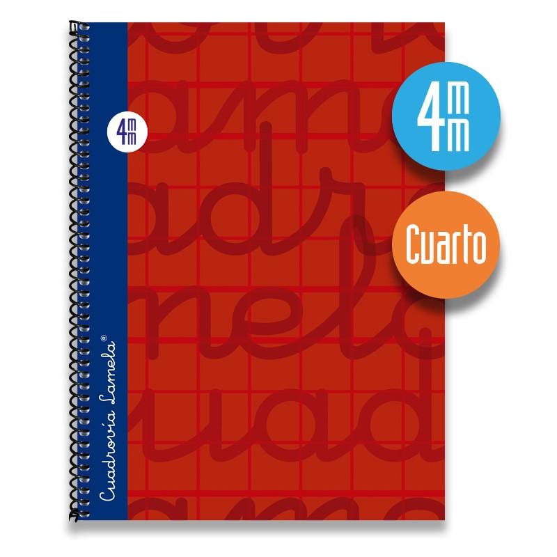 Cuaderno Espiral Cuarto 80 Hojas. Cubierta Extra Dura ROJO. Cuadrovía 4mm.