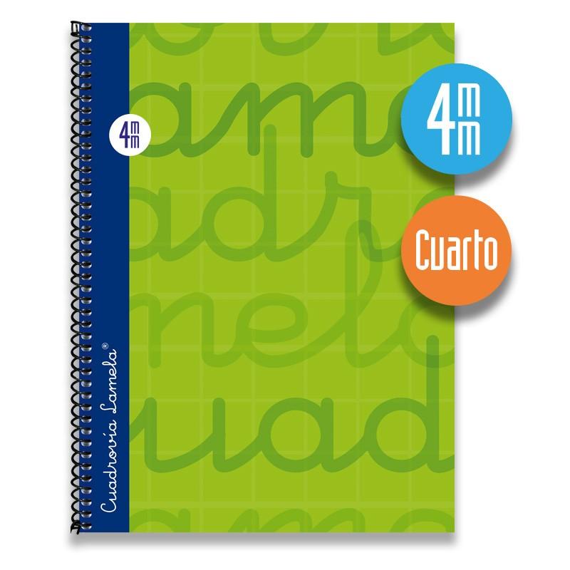 Cuaderno Espiral Cuarto 80 Hojas. Cubierta Extra Dura VERDE. Cuadrovía 4mm.
