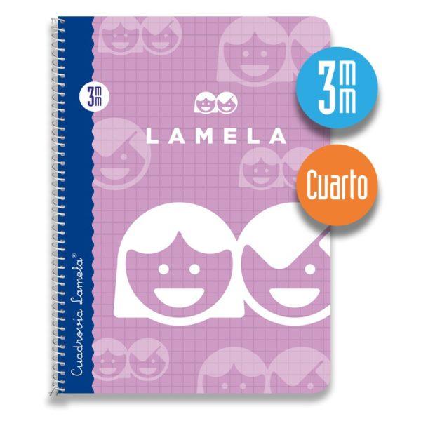 Cuaderno espiral cuarto 40 hojas. Cubierta cartoncillo plastificado. Cuadrovía 3mm.