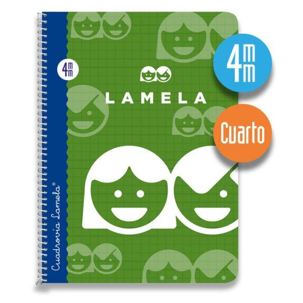 Cuaderno espiral cuarto 40 hojas. Cubierta cartoncillo plastificado. Cuadrovía 4mm.