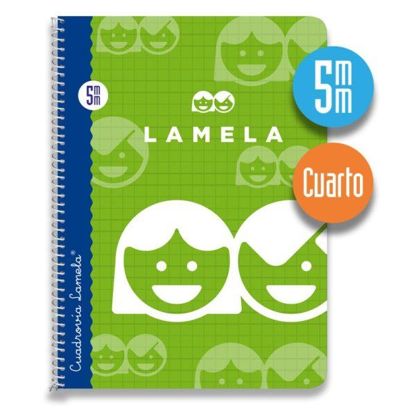 Cuaderno espiral cuarto 40 hojas. Cubierta cartoncillo plastificado. Cuadrovía 5mm.