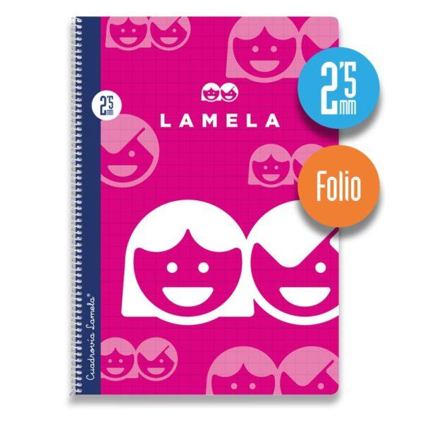 Cuaderno espiral Folio 80 hojas. Cubierta cartoncillo plastificado. Cuadrovía 2,5mm.