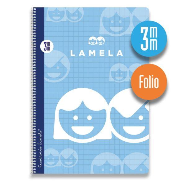 Cuaderno espiral Folio 80 hojas. Cubierta cartoncillo plastificado. Cuadrovía 3mm.