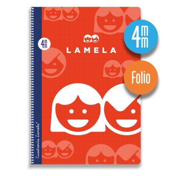 Cuaderno espiral Folio 80 hojas. Cubierta cartoncillo plastificado. Cuadrovía 4mm.