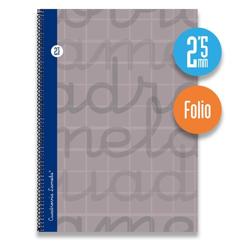 Cuaderno Espiral FOLIO 80 Hojas. Cubierta Extra Dura GRIS.  Cuadrovía 2,5mm.