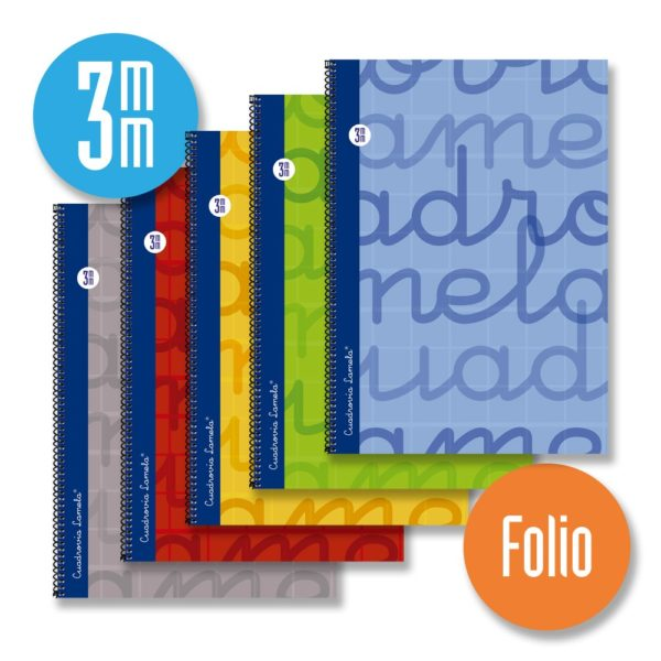 Cuaderno espiral FOLIO 80 hojas. Cubierta extra dura AZUL. Cuadrovía 3mm.