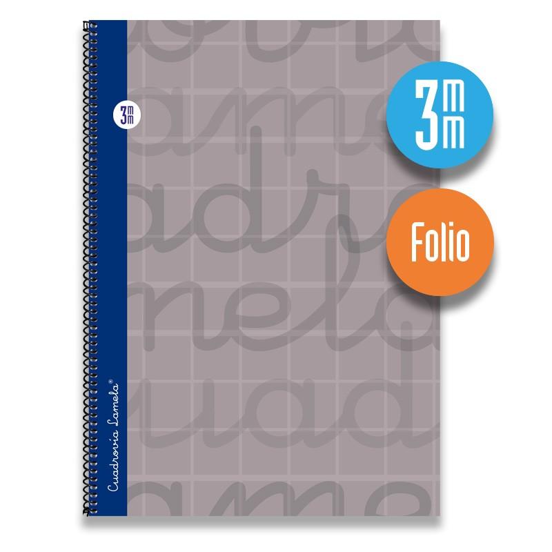 Cuaderno Espiral FOLIO 80 Hojas. Cubierta Extra Dura GRIS.  Cuadrovía 3mm.