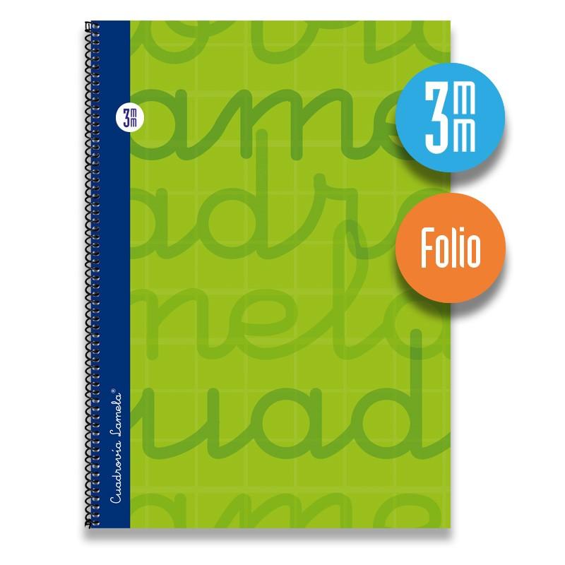 Cuaderno Espiral FOLIO 80 Hojas. Cubierta Extra Dura VERDE.  Cuadrovía 3mm.