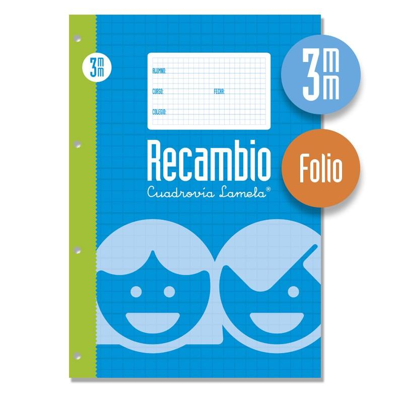 Recambio Anillas Tamaño Folio 100 Hojas . Cuadrovía 3mm.