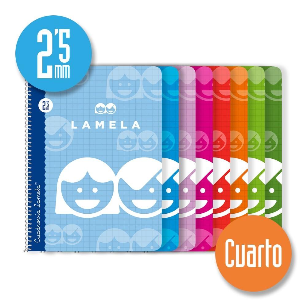 Cuaderno Espiral Cuarto 40 Hojas. Cubierta Cartoncillo Plastificado. Cuadrovía 2,5mm.