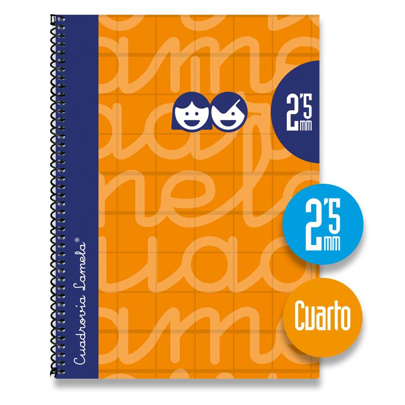 Cuaderno Espiral Cuarto 80 Hojas. Cubierta Extra Dura NARANJA . Cuadrovía 2,5mm.