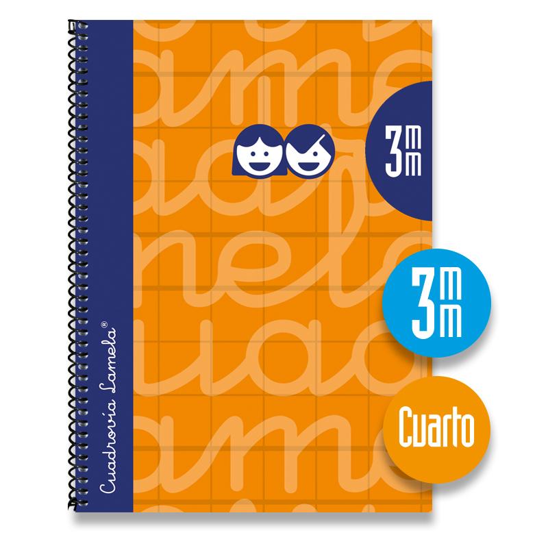Cuaderno Espiral Cuarto 80 Hojas. Cubierta Extra Dura NARANJA. Cuadrovía 3mm.