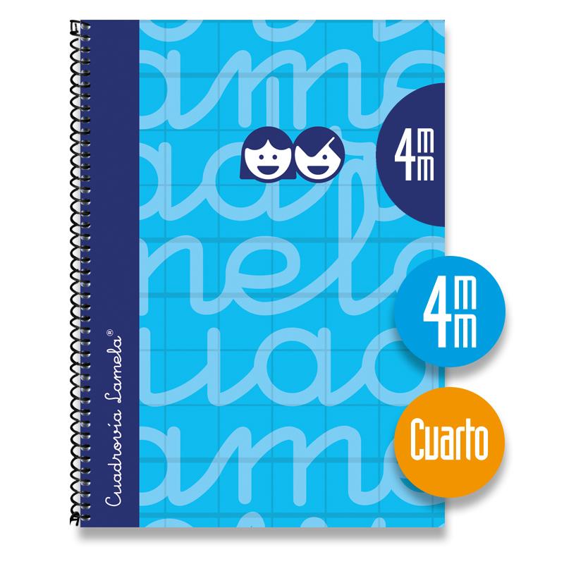 Cuaderno Espiral Cuarto 80 Hojas. Cubierta Extra Dura AZUL. Cuadrovía 4mm.
