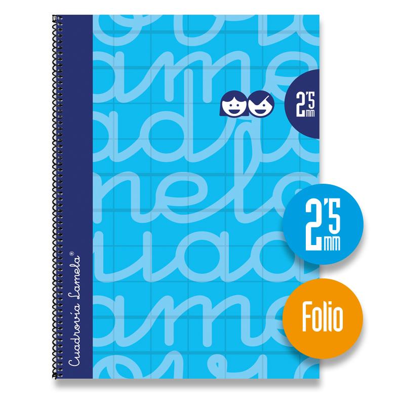Cuaderno Espiral FOLIO 80 Hojas. Cubierta Extra Dura AZUL.  Cuadrovía 2,5mm.