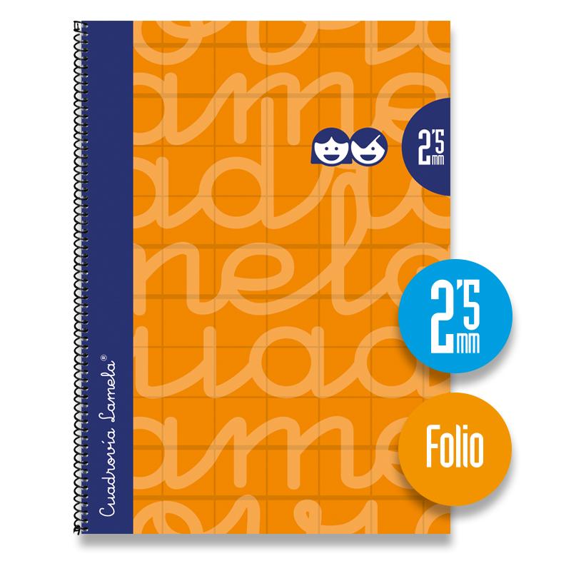 Cuaderno Espiral FOLIO 80 Hojas. Cubierta Extra Dura NARANJA.  Cuadrovía 2,5mm.