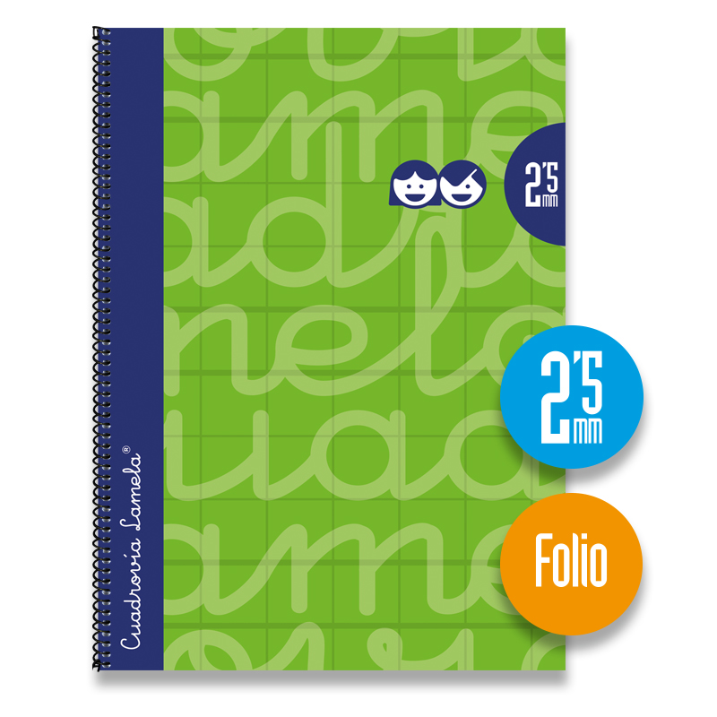 Cuaderno Espiral FOLIO 80 Hojas. Cubierta Extra Dura VERDE  Cuadrovía 2,5mm.