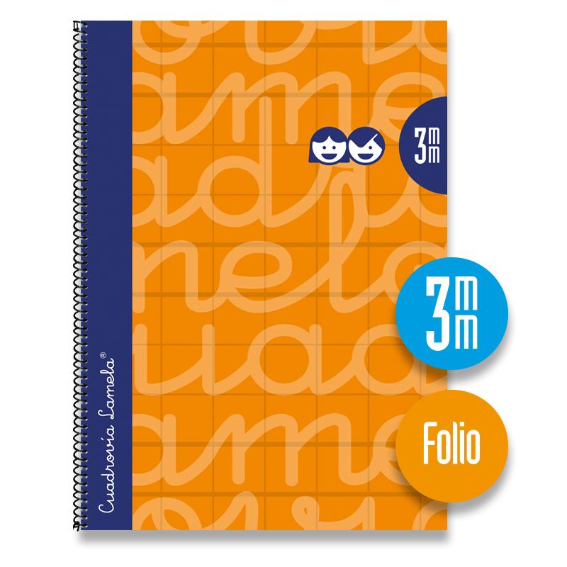 Cuaderno Espiral FOLIO 80 Hojas. Cubierta Extra Dura NARANJA.  Cuadrovía 3mm.