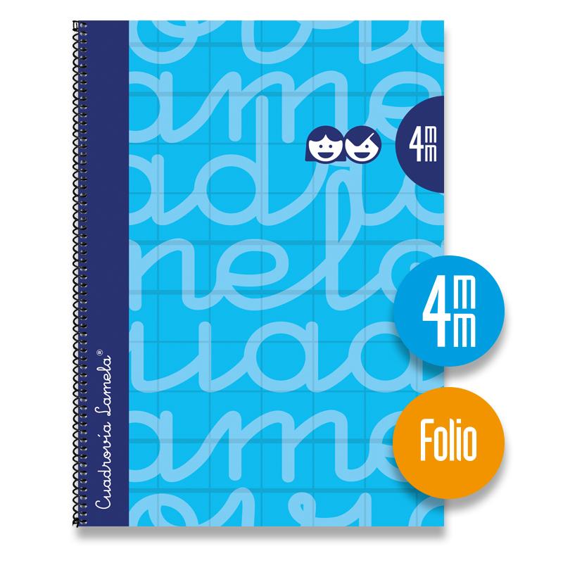 Cuaderno Espiral FOLIO 80 Hojas. Cubierta Extra Dura AZUL.  Cuadrovía 4mm.