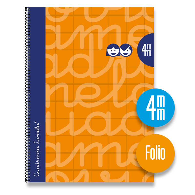 Cuaderno Espiral FOLIO 80 Hojas. Cubierta Extra Dura NARANJA.  Cuadrovía 4mm.