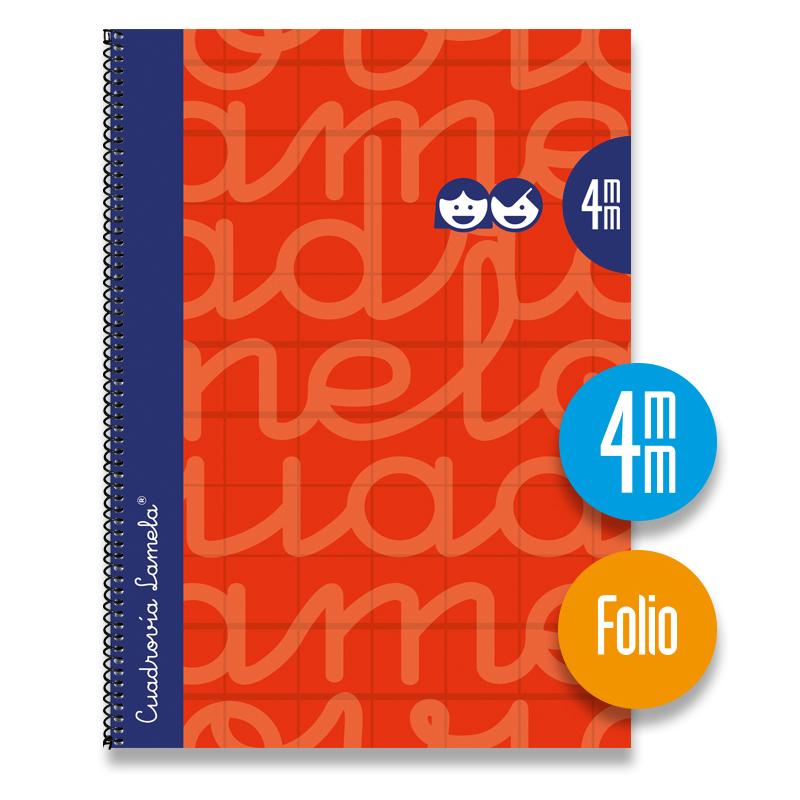 Cuaderno Espiral FOLIO 80 Hojas. Cubierta Extra Dura ROJO.  Cuadrovía 4mm.