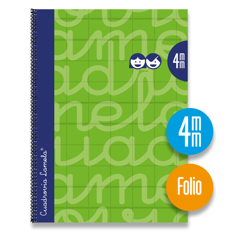 Cuaderno Espiral FOLIO 80 Hojas. Cubierta Extra Dura VERDE.  Cuadrovía 4mm.