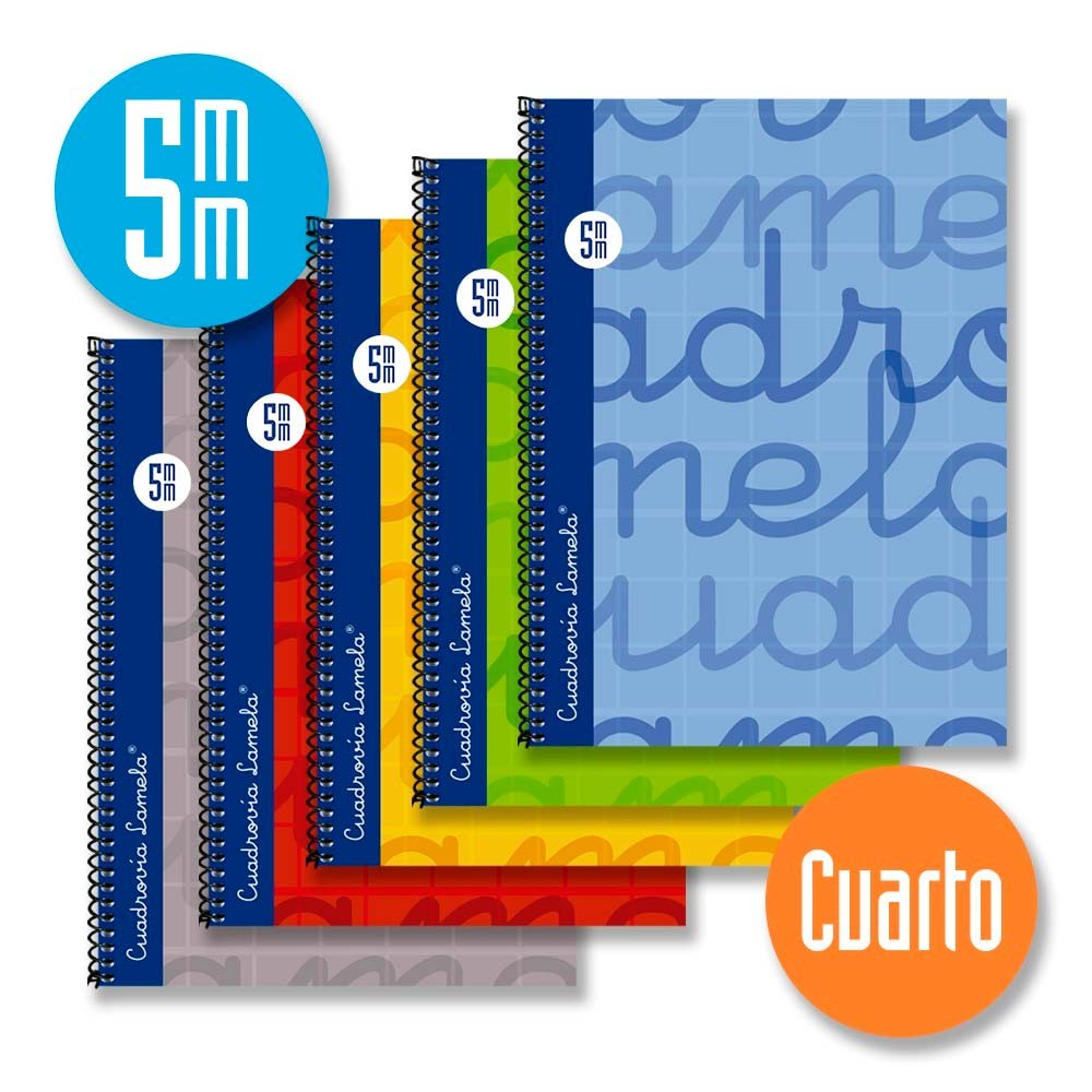 Cuaderno Espiral Cuarto 80 Hojas. Cubierta Extra Dura GRIS. Cuadrovía 5mm.