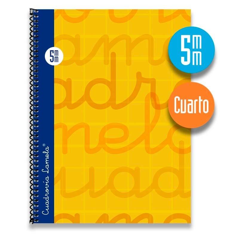 Cuaderno Espiral Cuarto 80 Hojas. Cubierta Extra Dura NARANJA.  Cuadrovía 5mm.