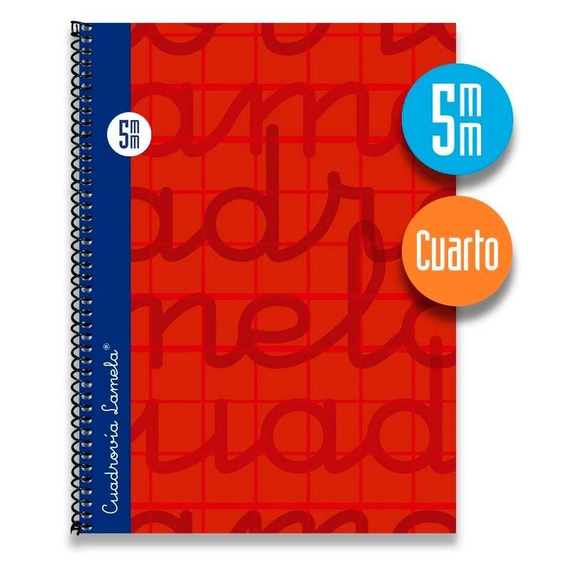 Cuaderno Espiral Cuarto 80 Hojas. Cubierta Extra Dura ROJO.  Cuadrovía 5mm.