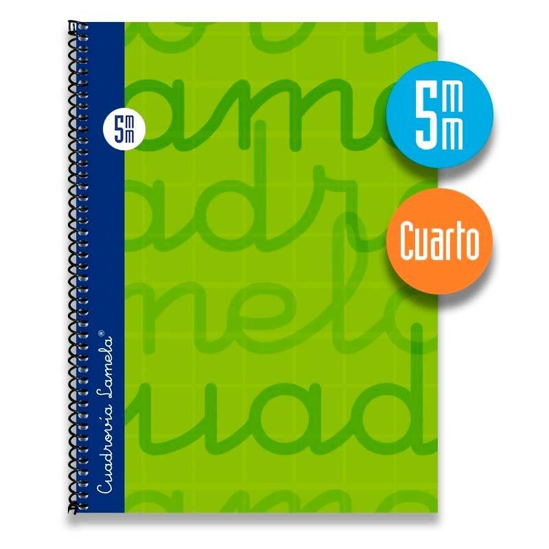 Cuaderno Espiral Cuarto 80 Hojas. Cubierta Extra Dura VERDE.  Cuadrovía 5mm.