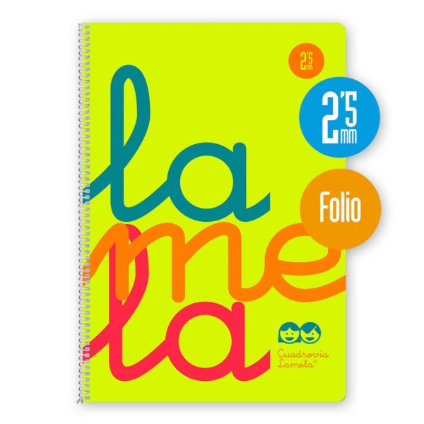 Cuaderno espiral Folio 80 hojas. Cubierta polipropileno fluor AMARILLO. Cuadrovía 2,5mm.