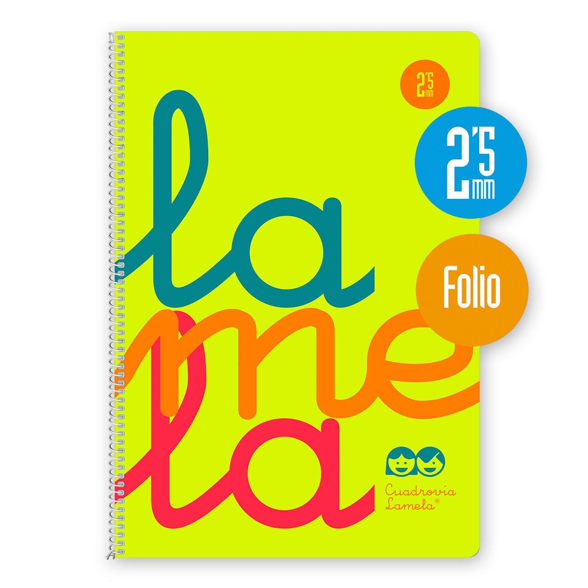 Cuaderno Espiral Folio 80 Hojas, 90 Grs. Cubierta Polipropileno Fluor. AMARILLO. Cuadrovía 2,5mm.