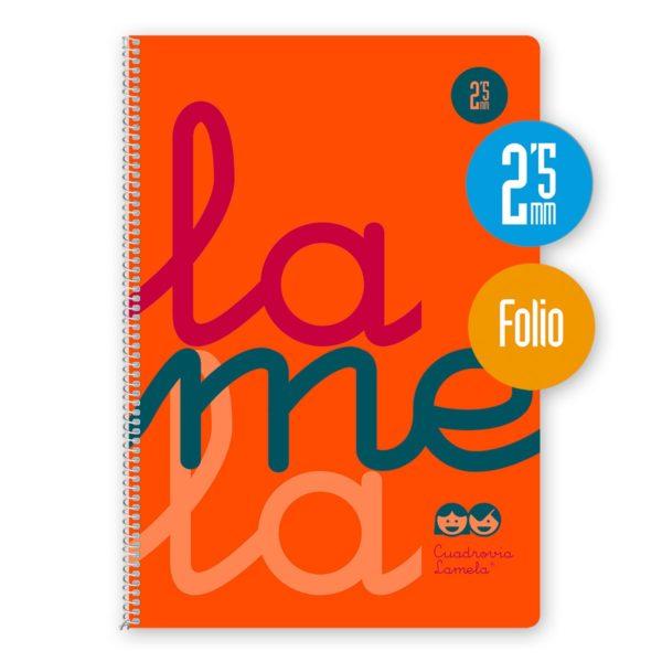 Cuaderno espiral Folio 80 hojas. Cubierta polipropileno fluor. NARANJA. Cuadrovía 2,5mm.
