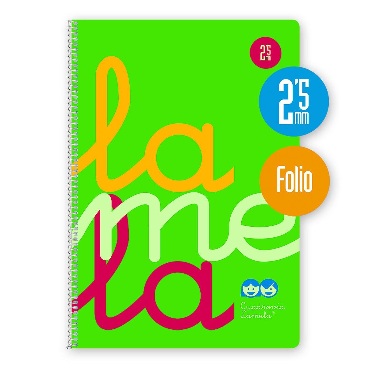 Cuaderno Espiral Folio 80 Hojas, 90 Grs. Cubierta Polipropileno Fluor. VERDE. Cuadrovía 2,5mm.