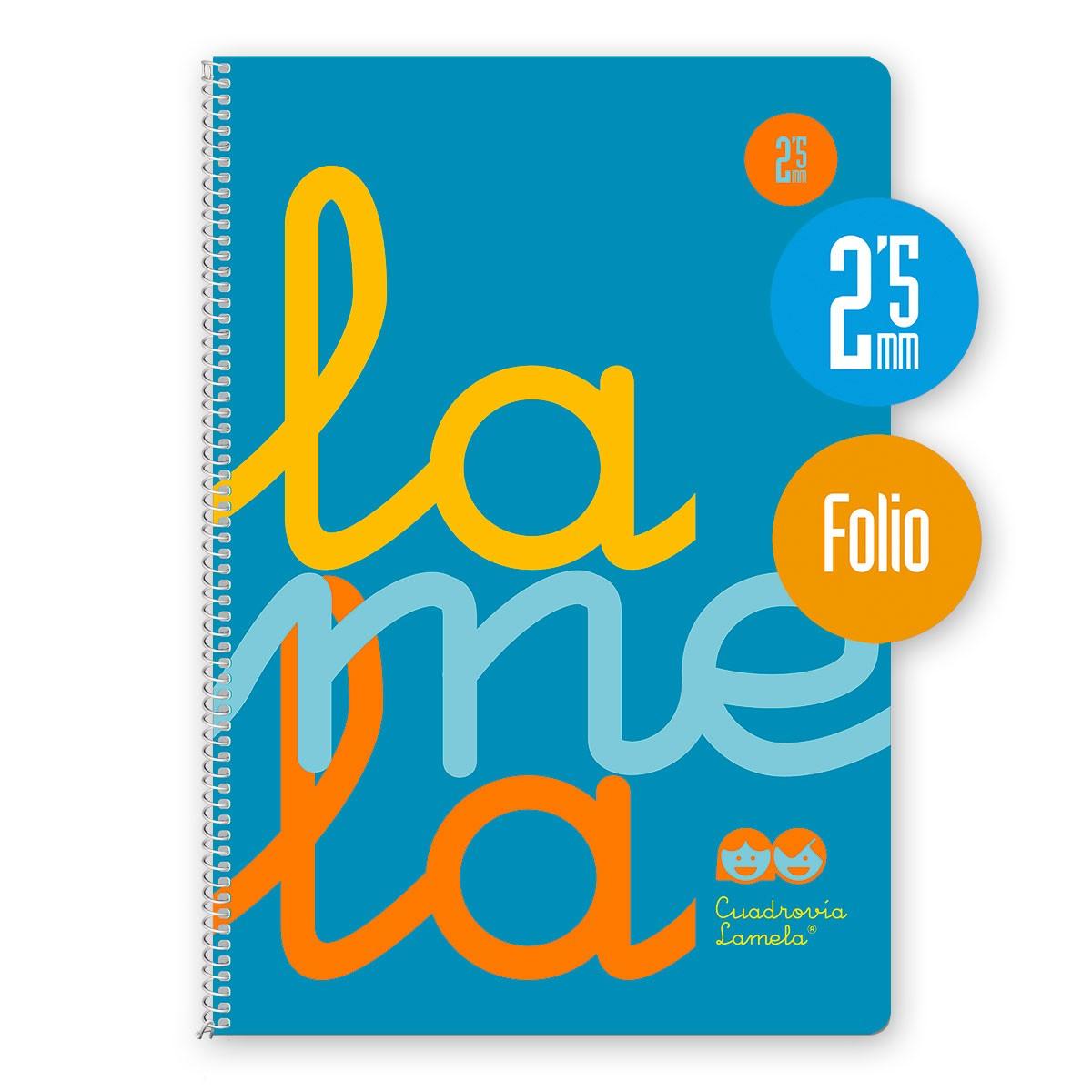 Cuaderno Espiral Folio 80 Hojas, 90 Grs. Cubierta Polipropileno Fluor. AZUL. Cuadrovía 2,5mm.