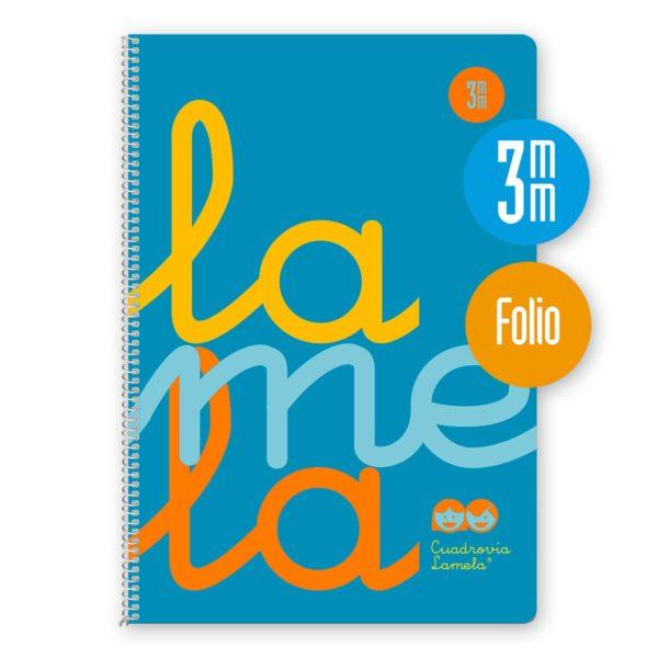 Cuaderno espiral Folio 80 hojas. Cubierta polipropileno fluor. AZUL. Cuadrovía 3mm.
