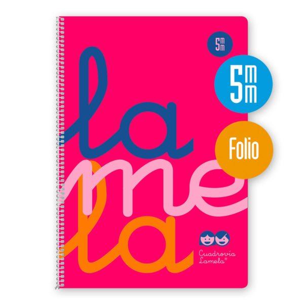 Cuaderno espiral Folio 80 hojas. Cubierta polipropileno fluor. ROSA. Cuadrovía 5mm.