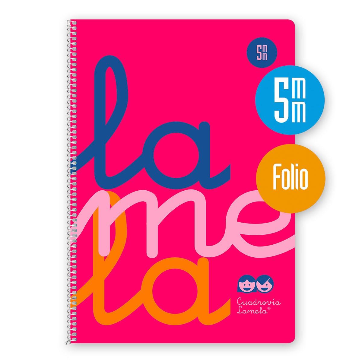 Cuaderno Espiral Folio 80 Hojas, 90 Grs. Cubierta Polipropileno Fluor. ROSA. Cuadrovía 5mm.