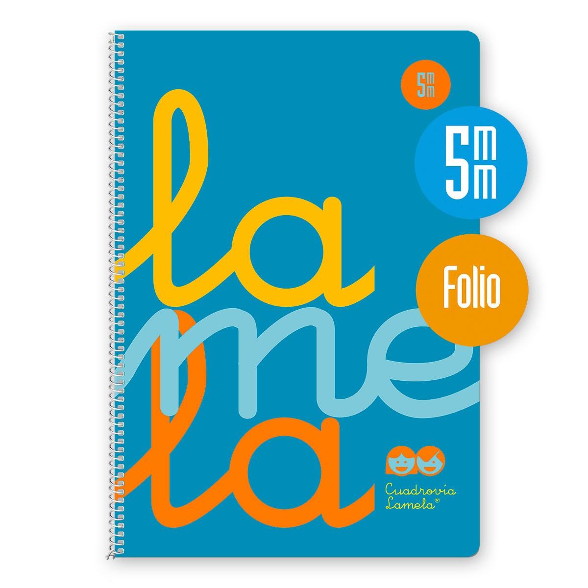 Cuaderno Espiral Folio 80 Hojas, 90 Grs. Cubierta Polipropileno Fluor. AZUL. Cuadrovía 5mm.
