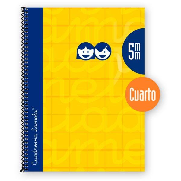 Cuaderno espiral cuarto 80 hojas. Cubierta extra dura AMARILLO . Cuadrovía 5mm.