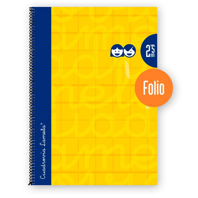 Cuaderno Espiral FOLIO 80 Hojas. Cubierta Extra Dura AMARILLO . Cuadrovía 2,5mm.