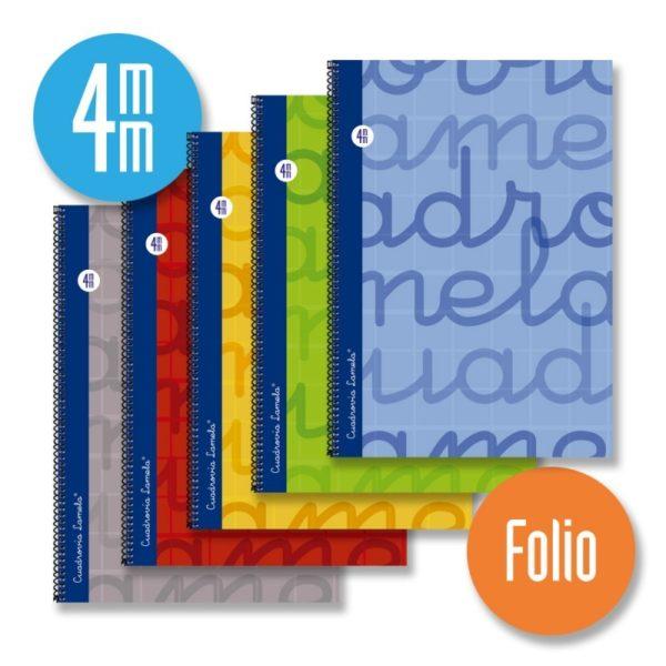 Cuaderno espiral FOLIO 80 hojas. Cubierta extra dura 5 COLORES SURTIDOS . Cuadrovía 4mm.