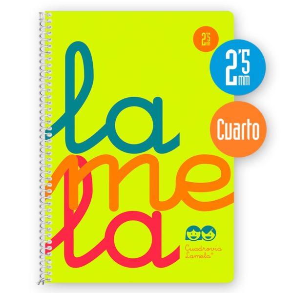 Cuaderno espiral cuarto 80 hojas, 90 grs. Cubierta polipropileno flúor. AMARILLO.Cuadrovía 2,5mm.