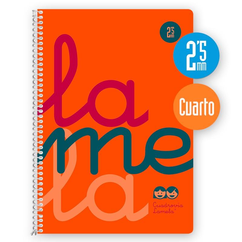 Cuaderno Espiral Cuarto 80 Hojas, 90 Grs. Cubierta Polipropileno Flúor. NARANJA. Cuadrovía 2,5mm.